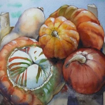 Squashes in a Crate (watercolour) SOLD