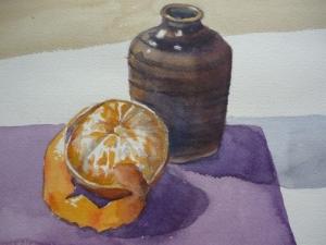Satsuma and Clay Jar (watercolour) SOLD