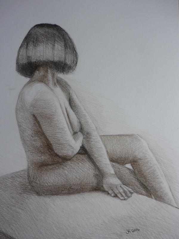 Seated Nude (coloured pencil)