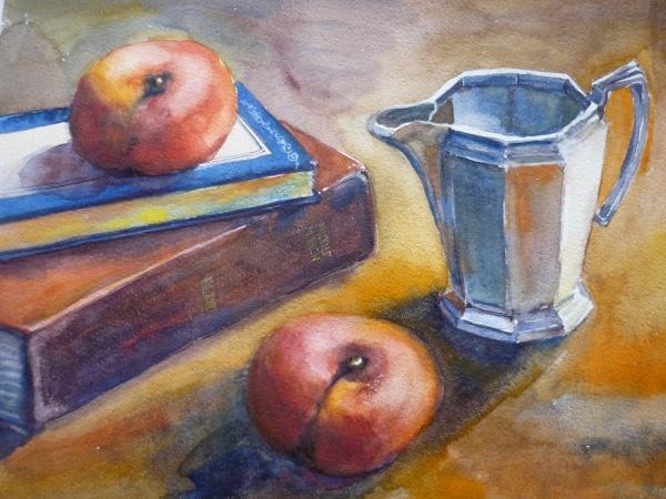 Silver Jug, Books and Doughnut Peaches