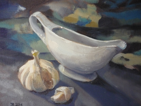 Garlic and Jug, oil painting
