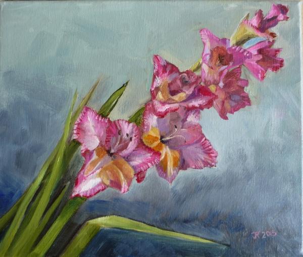 Pink Gladioli oil on canvas