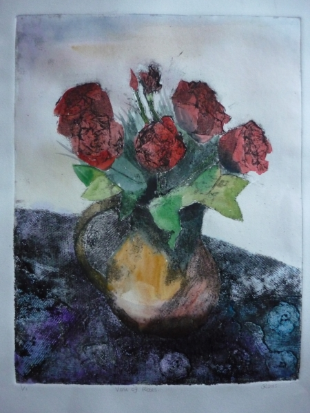 Jug of Roses collagraph2