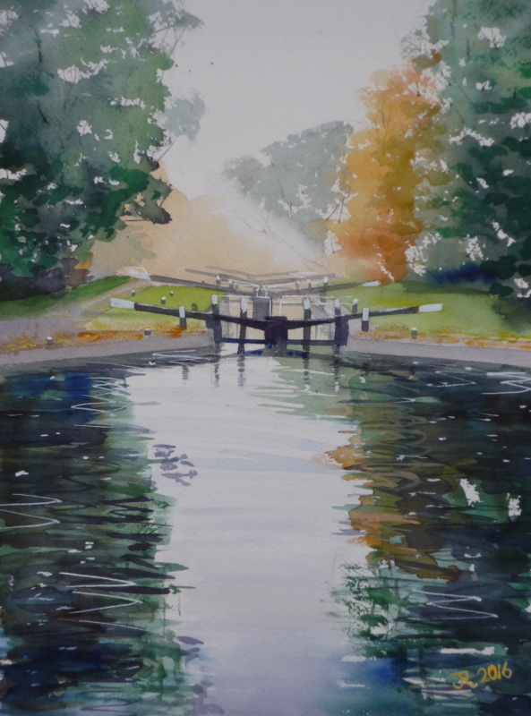 Hanwell Locks, Autumn Morning - watercolour