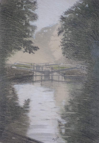 Hanwell Locks (pastel pencil)