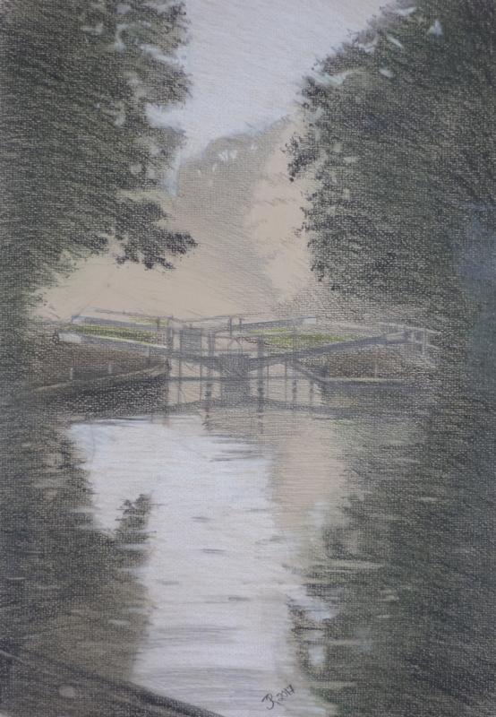 Hanwell Locks (pastel pencil)
