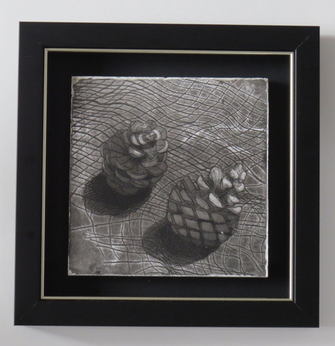 fir cones cast etching