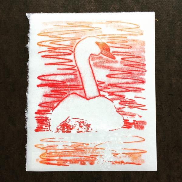Sunrise Swan (monotype)