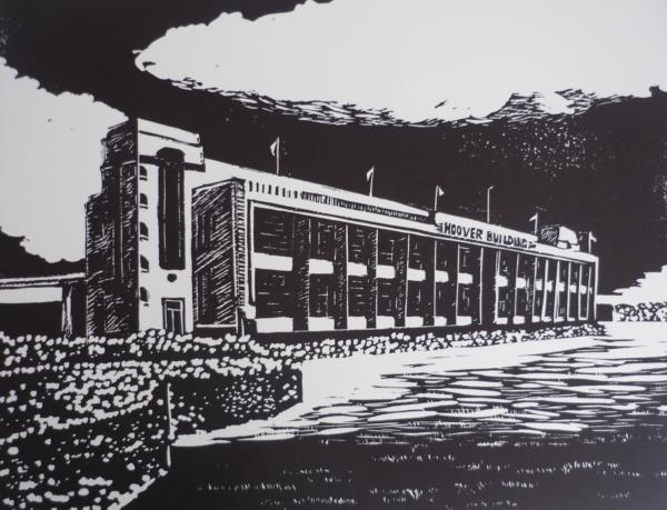 Hoover Building linocut